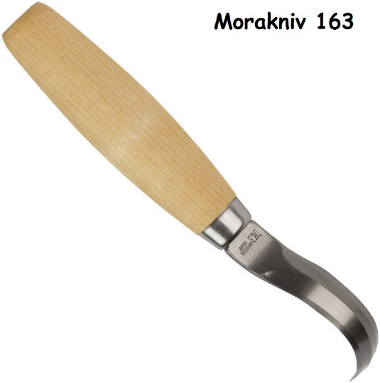 """Brand New Mora Wood Carving 163 Hook 6 3/4"""" overall. Double edge carbon steel"""