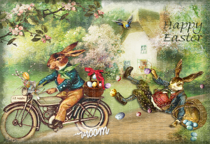 Easter Rabbit on Motorcycle Digital Collage Greeting Card527