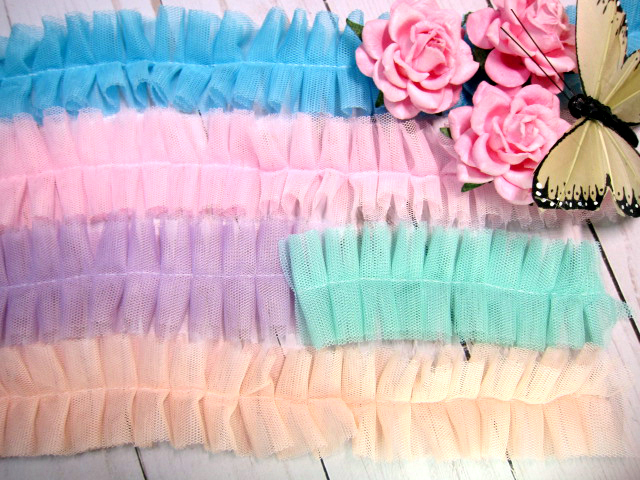 "Lace Ruffled Tulle Trim Pleated Shabby Chic - 1 5/8"" White, Blue, Pink,"