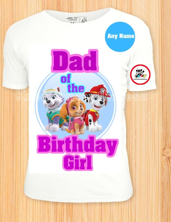 Paw Patrol Everest/Skye/Marshall Printable Birthday Girl Dad Iron On
