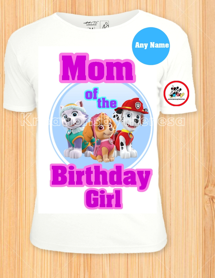 Paw Patrol Everest/Skye/Marshall Printable Birthday Girl Mom Iron On