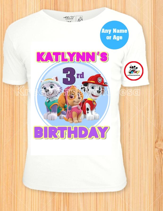 Paw Patrol Everest/Skye/Marshall Printable Birthday Girl Iron On