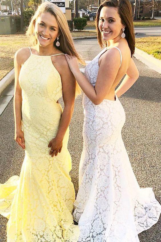 Beautiful Mermaid Spaghetti Straps lace Long Prom Dress, Sexy Pretty Prom Dress