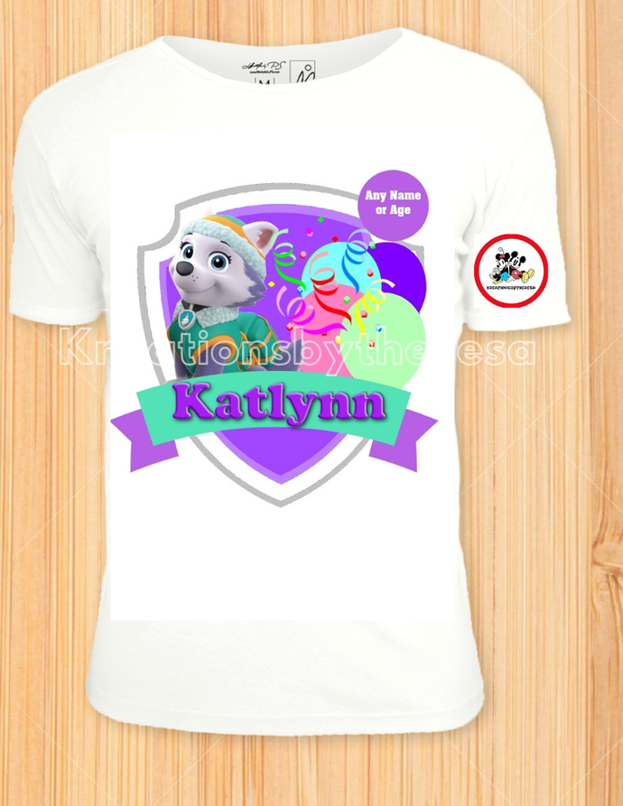 Paw Patrol Inspired Everest Birthday Girl Iron On Transfer