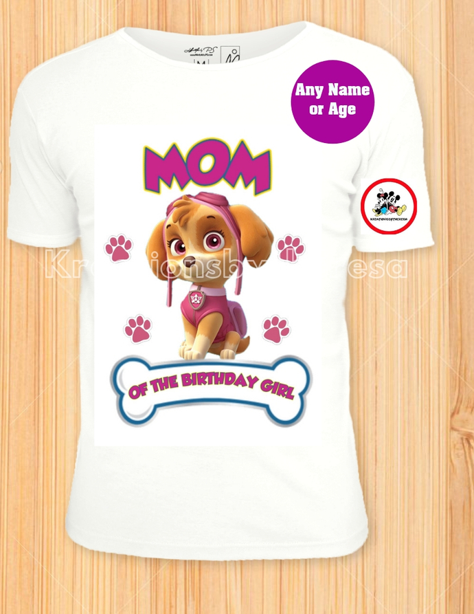 Paw Patrol Skye Mom Of The Birthday Girl Iron On Transfer