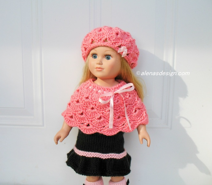 Crochet Patterns Pink Hat and Poncho Crochet Pattern 2 PC Set for 18 inch Doll