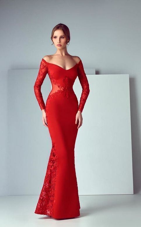 Red Prom Dresses, Mermaid Prom Dress, High Low Evening Dresses, Long Slevess Off