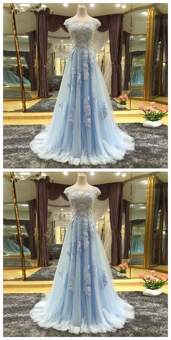 Blue Cap Sleeves Scoop Neck Cheap Prom Dresses A Line Evening Dresses