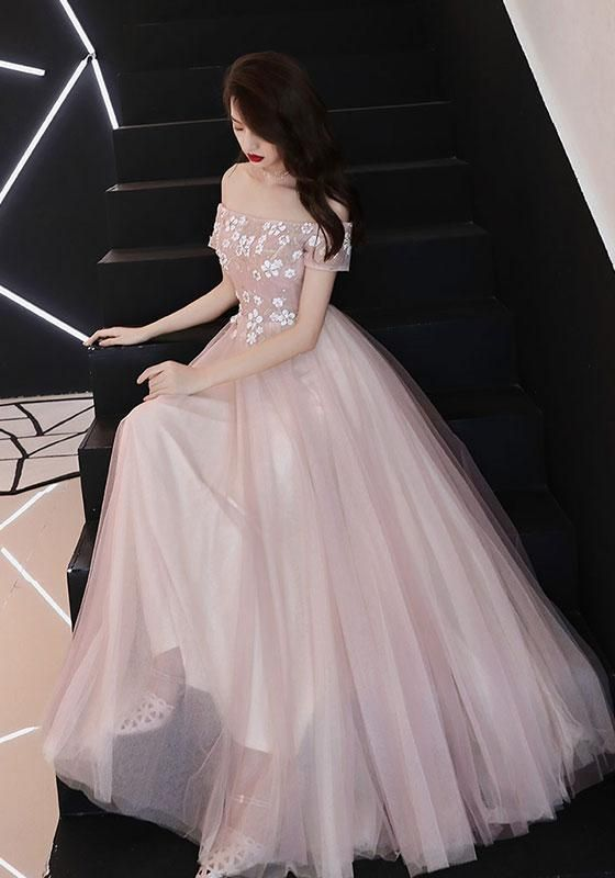 2019 NEW COMING PINK TULLE LACE LONG PROM DRESS, PINK BRIDESMAID DRESS