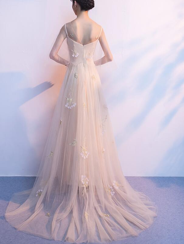 Light Champagne Tulle Long Straps Formal Gown, Gorgeous Party Dress