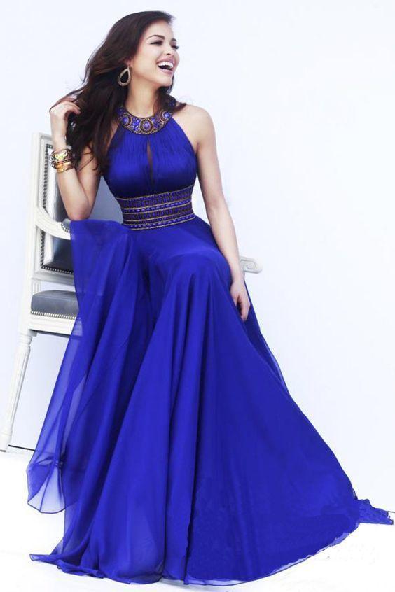 Evening dress A Line chiffon long royal blue gown beading open back dress