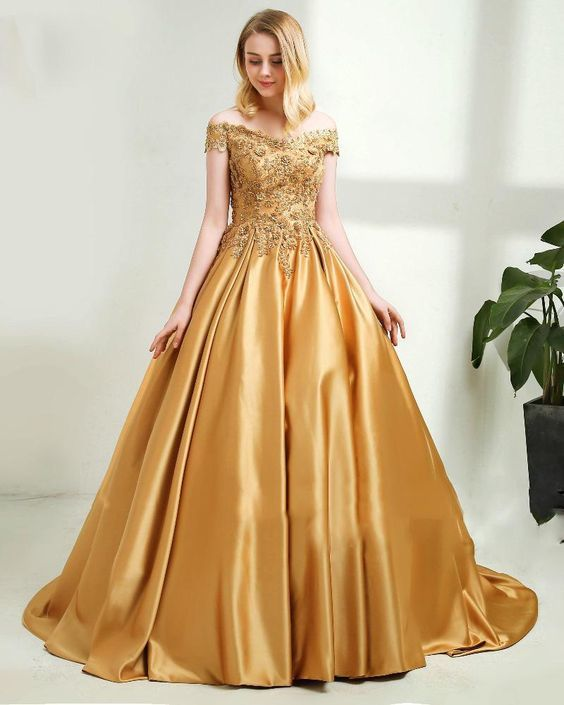 Quinceanera Dress for Sweet 16 Wedding Dress with Gold Lace Ball Gown
