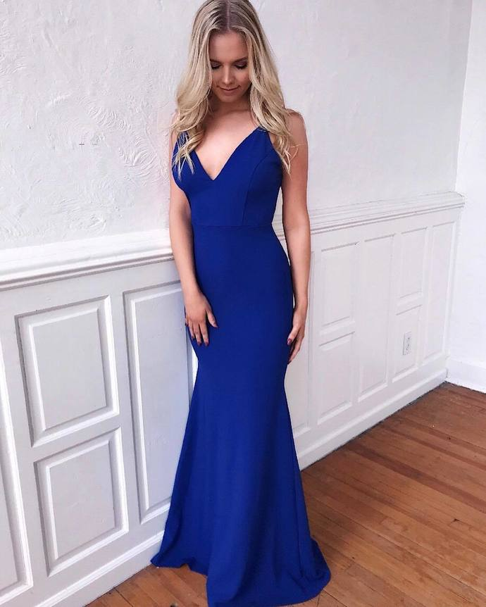 Sexy Mermaid Prom Dresses V-Neck Evening Dress Cheap Prom Gowns S5265