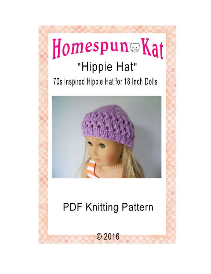Knitted Hippie Hat 18 Inch Doll Clothing Knitting PDF Pattern Digital Download