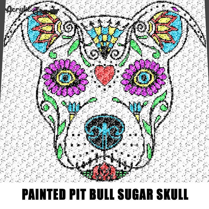 Painted Tattoo Pit Bull Dog Sugar Skull Art crochet graphgan blanket pattern;