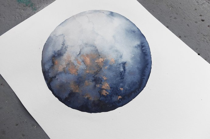Original painting, original watercolor blue moon, painting on paper, blue moon