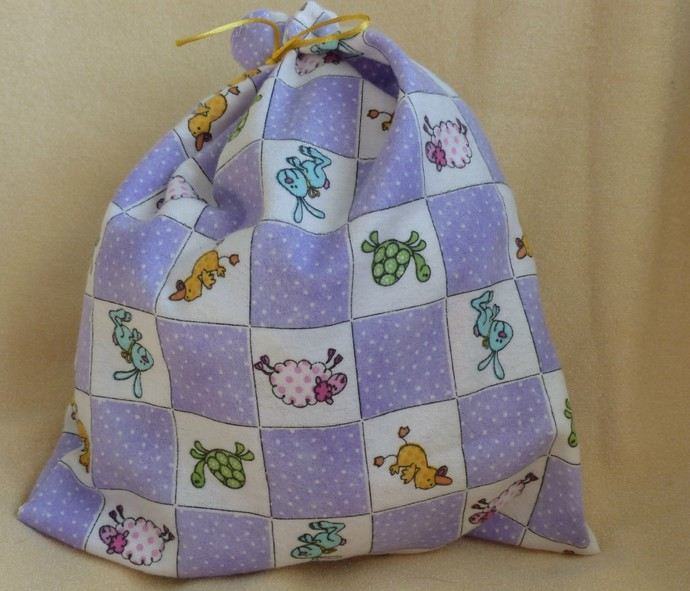 fabric gift bag, flannel gift bag, gift bag for toddler, gift bag for baby,