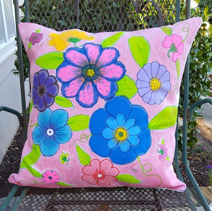 Decorative Pillow Cover, Handmade and Hand Dyed Batik Pillow Cover, Cotton Duck