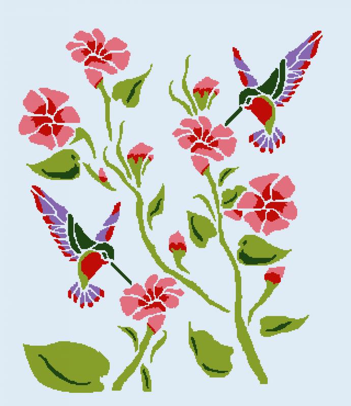 Tribal Hummingbirds  Queen size