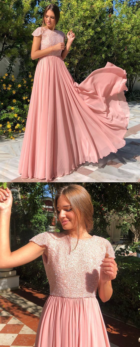A-line Floor-length Backless Beading Long Prom Dresses
