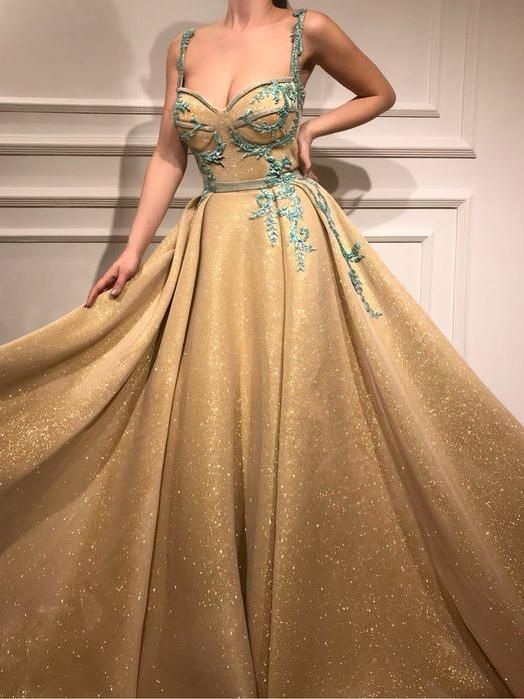 Beautiful Gold Prom Dress A-line Straps Long Prom Dresses Rhinestone Sparkly