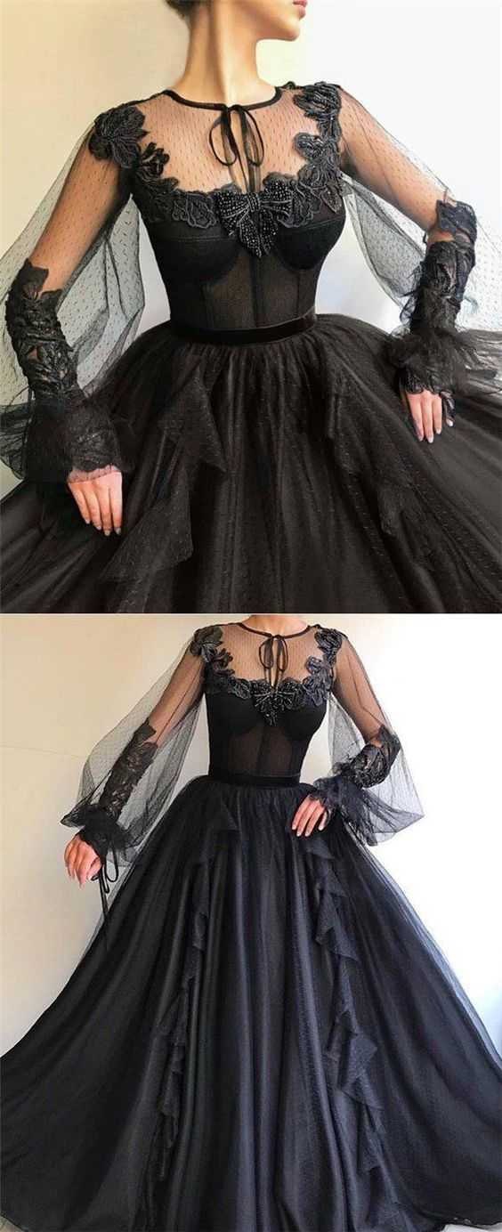 Black Long A-line Prom Dress, Long sleeves Modest Prom Gown