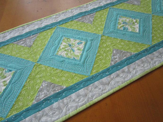 Spring Table Runner Quilted Handmade Runner Home Decor Handmade Gift Gray Aqua