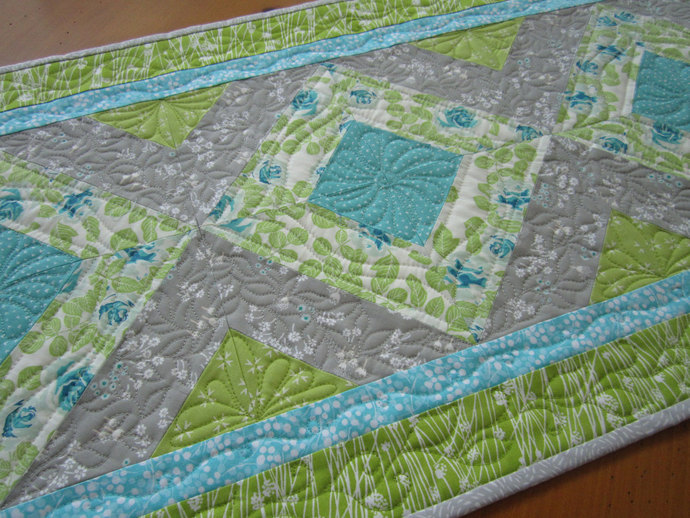 Spring Table Runner Floral Quilted Handmade Runner Home Decor Handmade Gift Gray