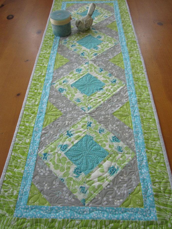 Spring Table Runner Floral Quilted Handmade Runner Home Decor Handmade Gift Gray