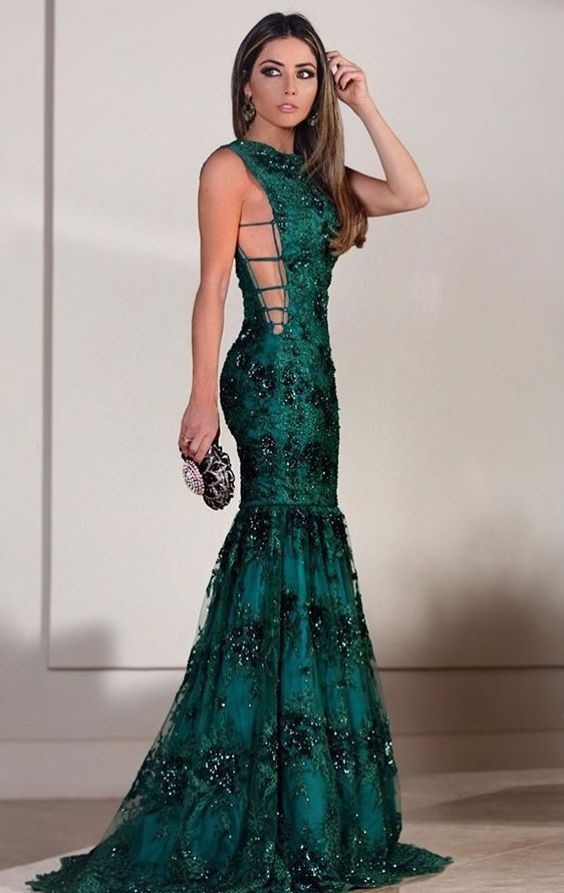 Green Party Dress A-Line Prom Dress, Evening Dresses ,Sexy Prom Dress,Party