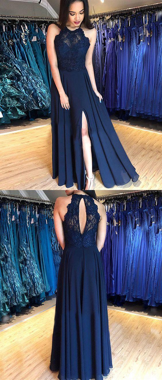 formal dark blue evening dresses for women, cheap chiffon long prom dresses,