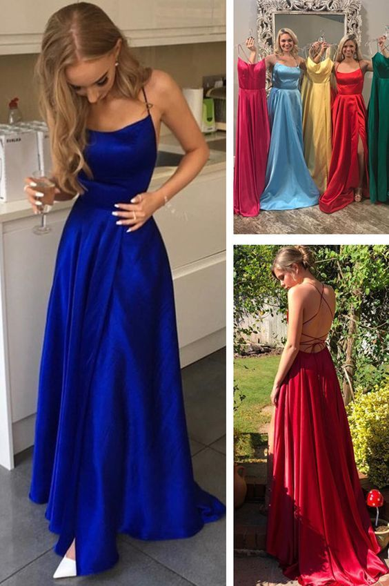 Gorgeous Straps Red Long Prom Dress with Slit DRESSES