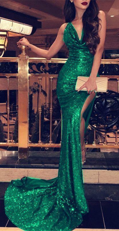 Halter Neck Long Sequin Mermaid Prom Dresses Leg Split Dresses
