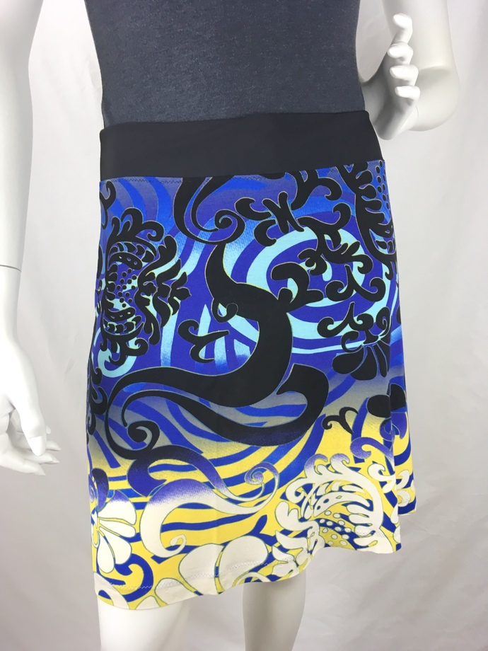 Groovy Blue and Yellow Swirls on Light T-Shirt Feeling Fabric with Adjustable