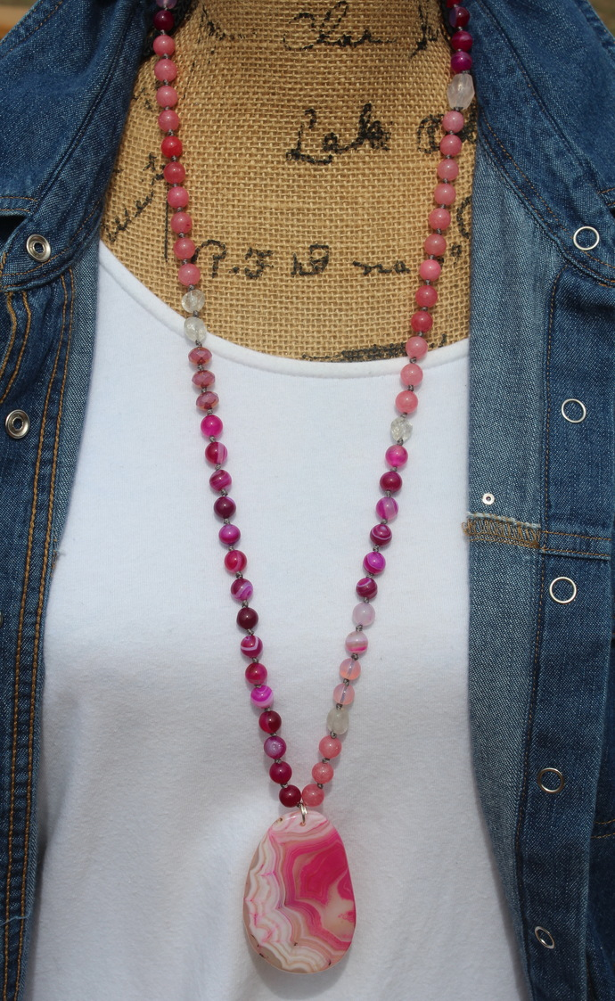 Pink Agate Hand knot long beaded necklace with Pendant Layering bohemian jewelry