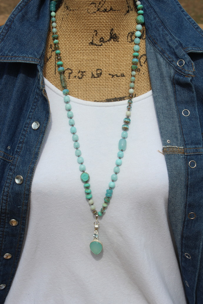 Stunning Aqua Chalcedony Long Beaded Necklace with Pendant by KnottedUp