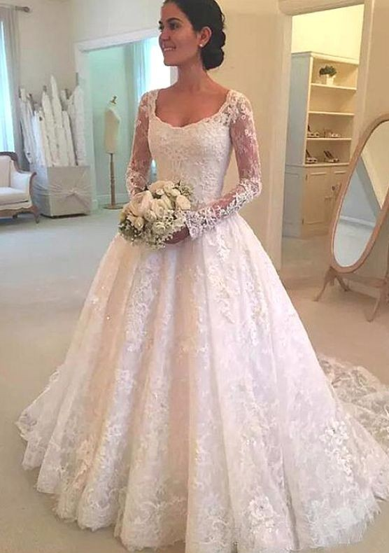 Attractive Scoop Neckline A-Line Tulle Wedding Dress With Beadings and Lace