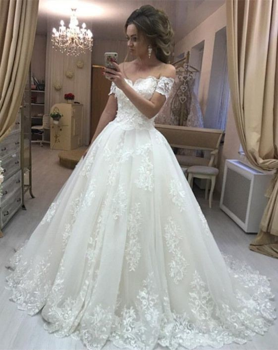 Romantic Off Shoulder Lace Embroidery Tulle Wedding Dresses Princess Bridal