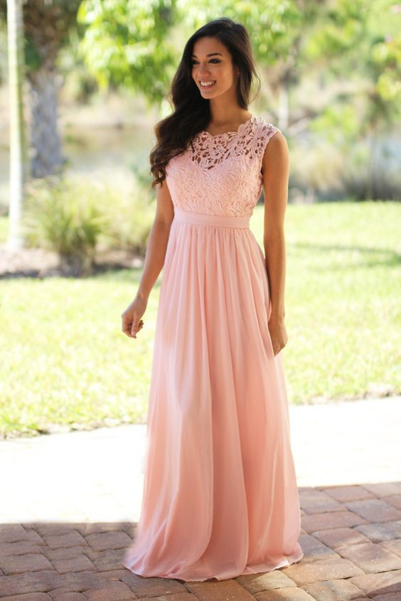 Pink Lace Chiffon Prom Dress, Pink Maxi Dresses, Pink Bridesmaid Dresses, Mint