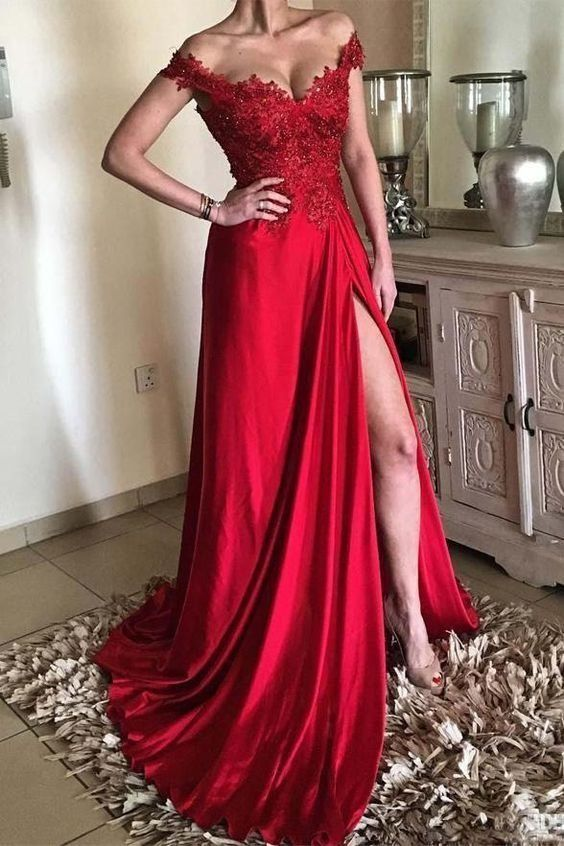 Long Prom Dresses Red, A-line Formal Evening Dresses