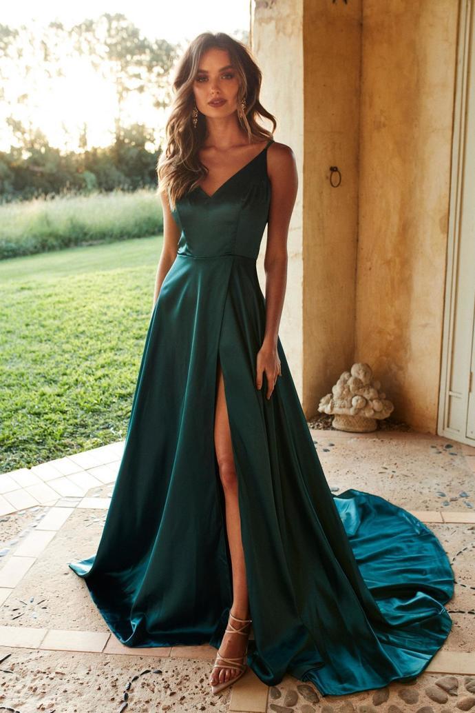 Teal Silk Like Satin V Neck Long Prom Dress
