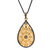 925 Sterling Silver Pave White topaz Carved Pear shape Pendant Jewelry