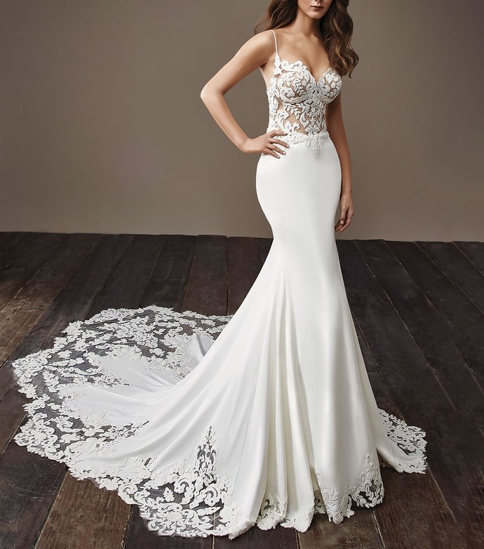 Illusion Lace Bodice Sweetheart Spaghetti Straps Mermaid Wedding Dress Backless