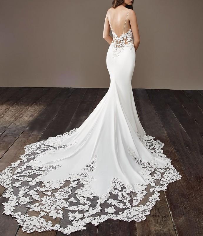 Illusion Lace Bodice Sweetheart Spaghetti Straps Mermaid Wedding Dress Backless
