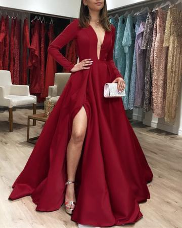 Long Sleeves Red Wine Satin Prom Dresses Leg Slit Evening Gown