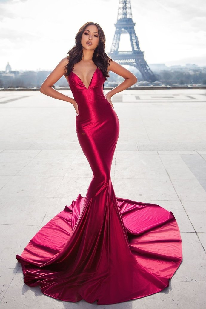 Mermaid Style Evening Dress with Lace-up Backless Dresses