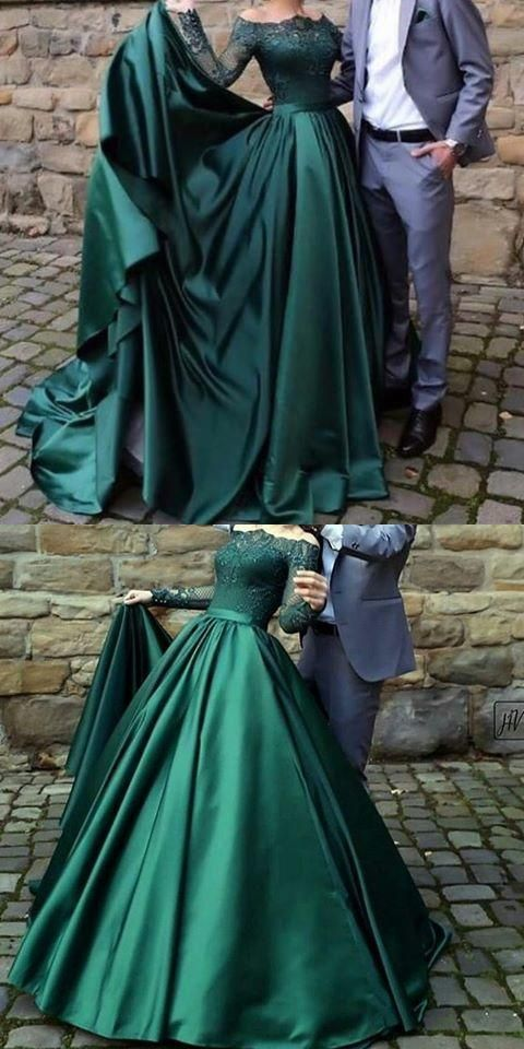 party dresses off shoulder modest long sleeves dark green prom dress