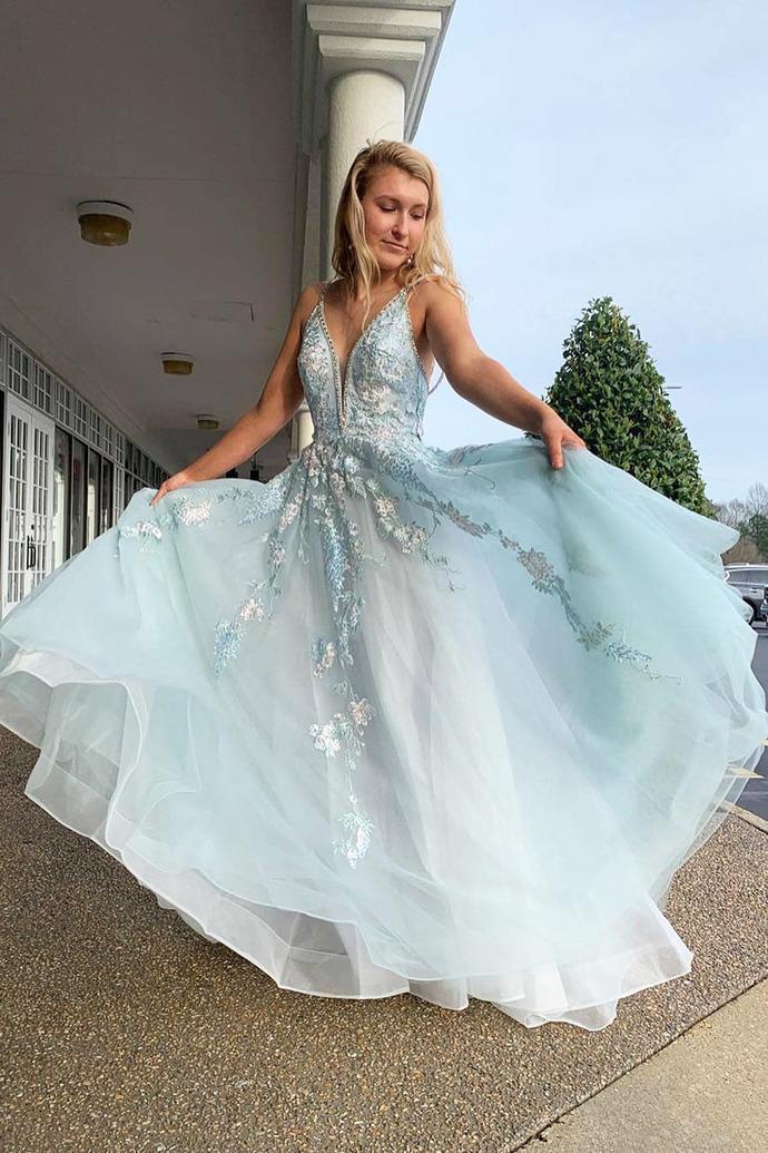 A Line Appliques Straps Tulle Mint Green Long Prom Dress, Elegant V neck Evening
