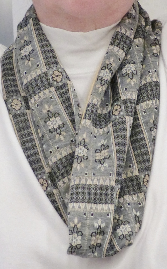 Infinity scarf, Short scarf, gray and gold knit fabric, Circle scarf, Gift for