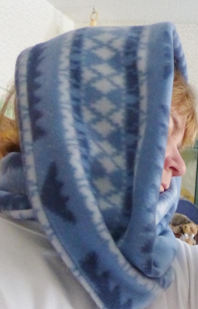 Infinity scarf, Short scarf, blue polar fleece fabric, Circle scarf, Gift for